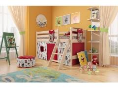 Детская кровать Соня низкая с наклонной лестницей Вариант 12