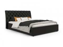 Кровать Леди Анна вариант 2 Черный кожзам