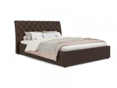 Кровать Леди Анна вариант 3 Коричневый кожзам
