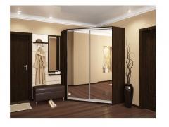 Угловой шкаф-купе Анна венге с двумя зеркалами
